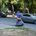 on the streets of Poltava, beautiful historical street seller