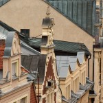 Blick über den Stadt. Die Dächer